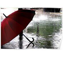 unbrella in rain Poster