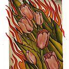 pink tulips in flames by resonanteye