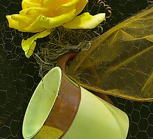 Yellow Rose and Tea Cup by Floyd Hopper