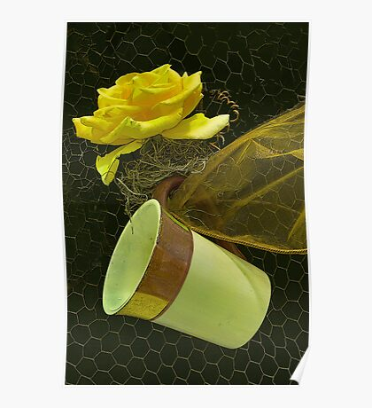 Yellow Rose and Tea Cup Poster