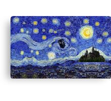 Starry Night Inspiration Dr Who Tardis Harry Potter Hogwarts  Canvas Print