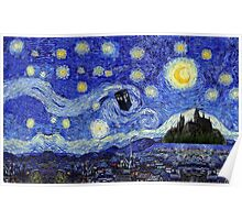 Starry Night Inspiration Dr Who Tardis Harry Potter Hogwarts  Poster
