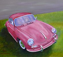 Red Porsche 356 by BAR-ART