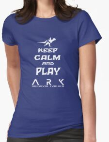 KEEP CALM AND PLAY ARK white Womens Fitted T-Shirt