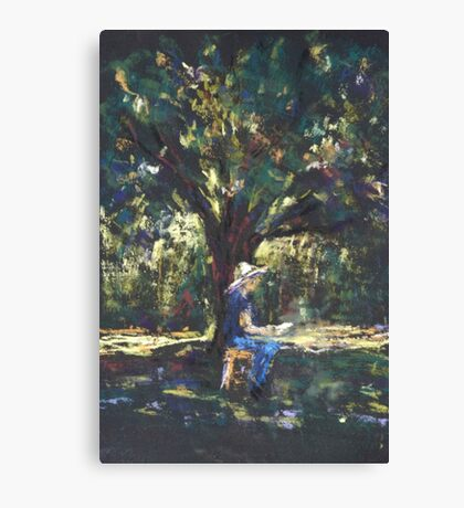 Anne painting under the trees Canvas Print