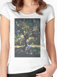 Anne painting under the trees Women's Fitted Scoop T-Shirt