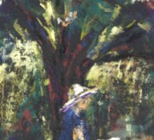 Anne painting under the trees Sticker