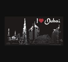 I Love Dubai, postcard (black, white) Kids Tee