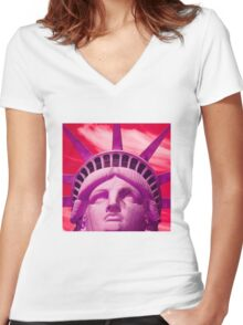 Red Liberty Women's Fitted V-Neck T-Shirt