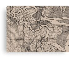 Old Map, Altamaha River, Georgia, USA - Brown  Canvas Print