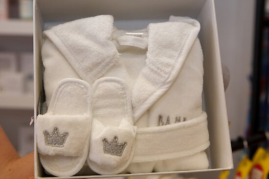 Royal baby dressing gown & slippers set by Keith Larby