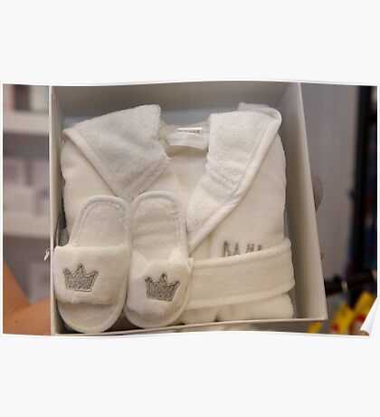 Royal baby dressing gown & slippers set Poster