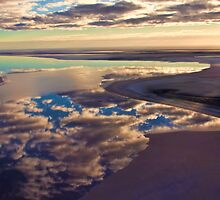 Lake Eyre cloud reflections by Chris Brunton
