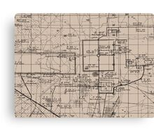 Old Map, Thma Puok District, Cambodia - Brown  Canvas Print
