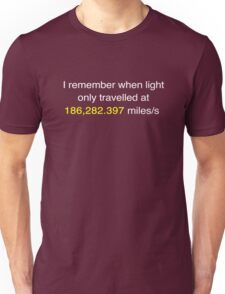 E=MC2 ?   Light Speed Tee (imperial) Unisex T-Shirt