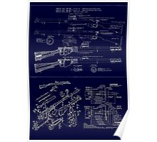 Full size, highly detailed blueprint of Lee Enfield .303 Poster