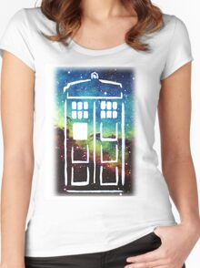 Tardis Galaxy Women's Fitted Scoop T-Shirt