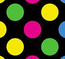 Abstract Retro Polka Dots Pink Green Yellow by sitnica