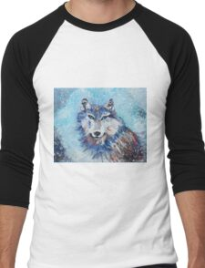 Snow Wolf - Animal Art by Valentina Miletic Men's Baseball ¾ T-Shirt