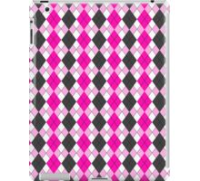 Pink and Grey Funky Argyle Plaid Checks Pattern iPad Case/Skin