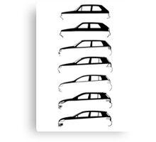 Silhouette Volkswagen VW Golf Mk1-Mk7 Left Canvas Print