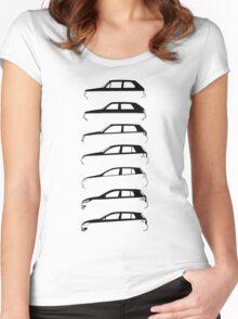 Silhouette Volkswagen VW Golf Mk1-Mk7 Left Women's Fitted Scoop T-Shirt