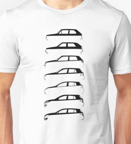 Silhouette Volkswagen VW Golf Mk1-Mk7 Left Unisex T-Shirt