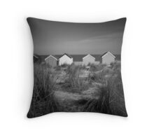 Beach Huts and Sand Dunes - Southwold Throw Pillow