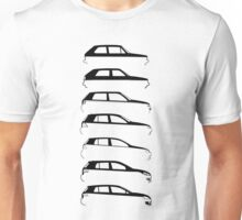 Silhouette Volkswagen VW Golf Mk1-Mk7 Right Unisex T-Shirt
