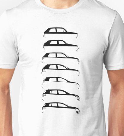 Silhouette Volkswagen VW Golf Mk1-Mk7 Right Unisex T-Shirt