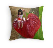 ANTHURIUM- HAWAIIN HEART FLOWER--LITTLE GIRL & WATERMELON A SUMMERS DELIGHT - PICTURE / CARD Throw Pillow