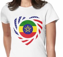 Ethiopian American Multinational Patriot Flag Series 2.0 Womens Fitted T-Shirt