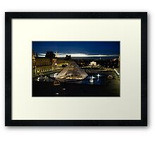 Paris - Louvre Pyramid at Night Framed Print