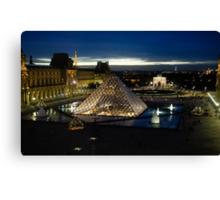 Paris - Louvre Pyramid at Night Canvas Print