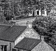 Cottages in the Trees - B&W Sticker