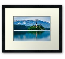 Lake Bled Island church Framed Print