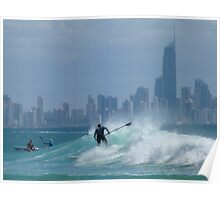 Paddle Boarder at Surfers Paradise Poster