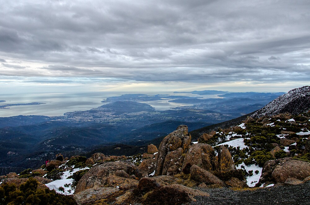 Looking towards Bruny island from Mnt Wellington  by Robert-Todd
