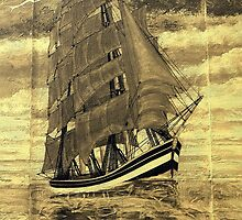 A sepia digital painting of my acrylic painting of a Clipper Ship by Dennis Melling