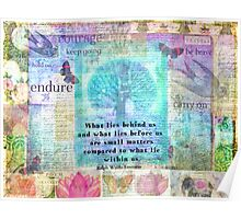 Tree and Nature Art Collage with Emerson Inspirational Quote Poster