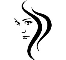 Girl Face and Hair Photographic Print
