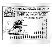 Making America Strong Cartoon -- WW2 Poster