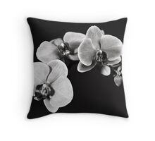 White Orchid Flowers Throw Pillow