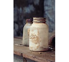 Old Dusty Mason Jars Photographic Print