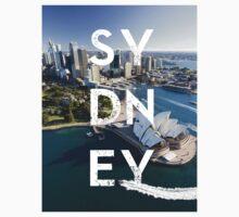 Sydney - Text Overlay One Piece - Short Sleeve