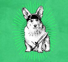 BAD dog – green corgi carrying a knife by Jenny Holmlund