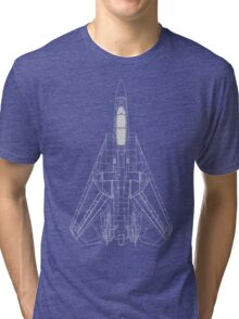 Grumman F-14 Tomcat Blueprint Tri-blend T-Shirt