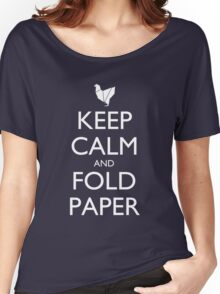 Keep Calm & Fold Paper (Chicken) - Dark Women's Relaxed Fit T-Shirt