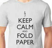Keep Calm and Fold Paper (Stick Man) Unisex T-Shirt
