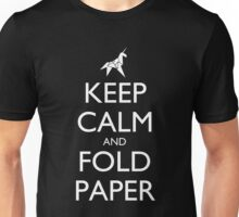 Keep Calm and Fold Paper (Unicorn) - Dark Unisex T-Shirt